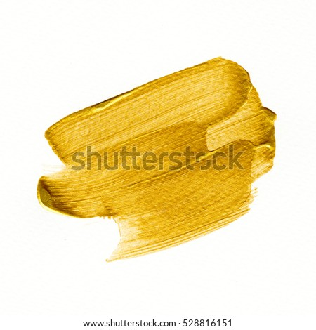 Golden background. Abstract gold color watercolor hand paint isolated on white background. Detail or closeup brush stroke pattern. Graphic design for illustration,artwork or backdrop.   #528816151