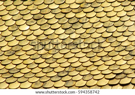 Golden background of a golden roof.  #594358742