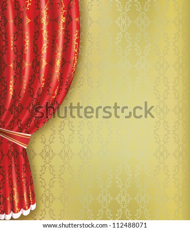 Golden background with red curtain and pattern. Place for text. Raster version - stock photo