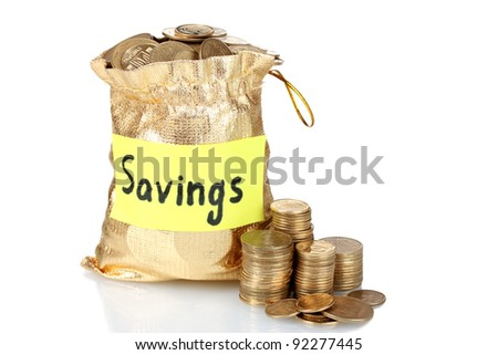 Golden bag for tips with money isolated on white. Ukrainian coins