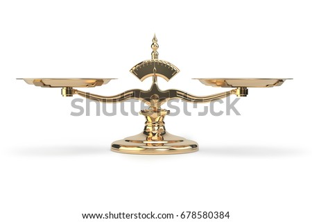 Golden balance scales isolated on white background. 3d illustration.