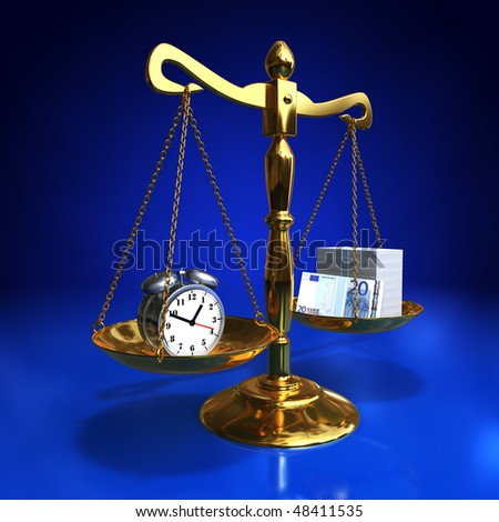 golden balance with alarm clock and roll of banknotes, Time is money concept