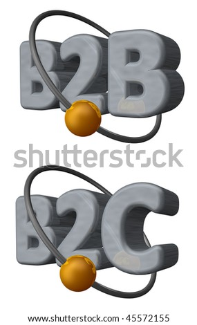 golden ball fly around the letters b2b and b2c - 3d illustration