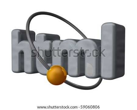 golden ball fly around the letters html - 3d illustration
