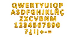 Golden Balloon typography of spanish letters, QWERTY alphabet, party ballon name letter composition