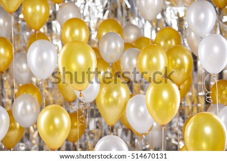 Golden balloons background. New Year concept