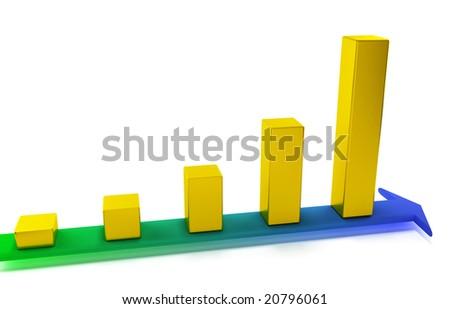 Golden bar chart on color arrow