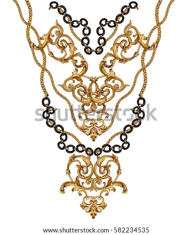 golden baroque and chain  #582234535