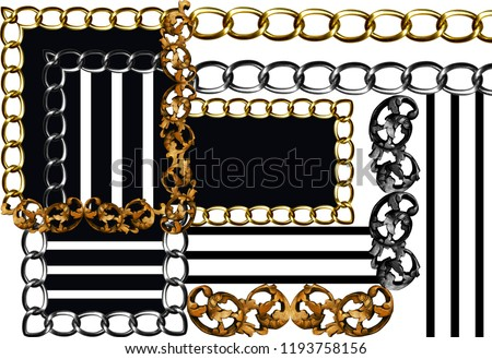 golden baroque and chains background\r