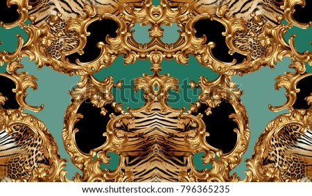 golden baroque and leopard skin #796365235