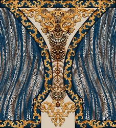 Golden baroque and  leopard skin  with geometric pattern