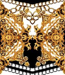 golden baroque and  ornament elements