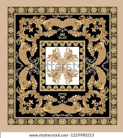 golden baroque frame. baroque scarf