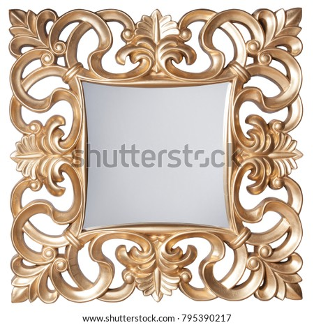 Golden baroque mirror frame isolated on white #795390217