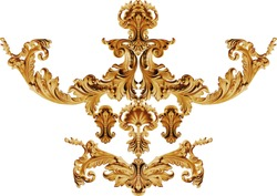 golden baroque ornament on white background