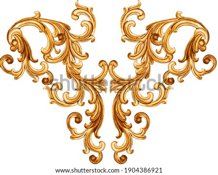 golden baroque ornament on white background Photo stock ©