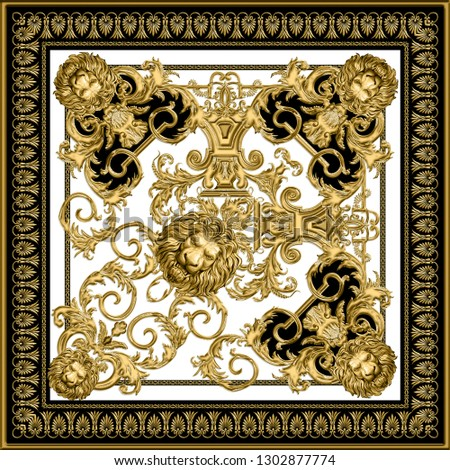 Golden baroque square design with lion head