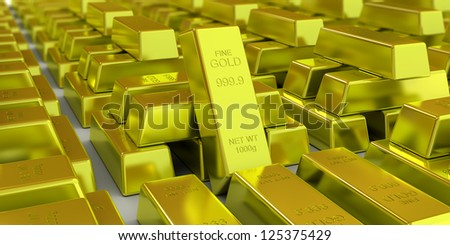 Golden bars 3d concept - stock photo