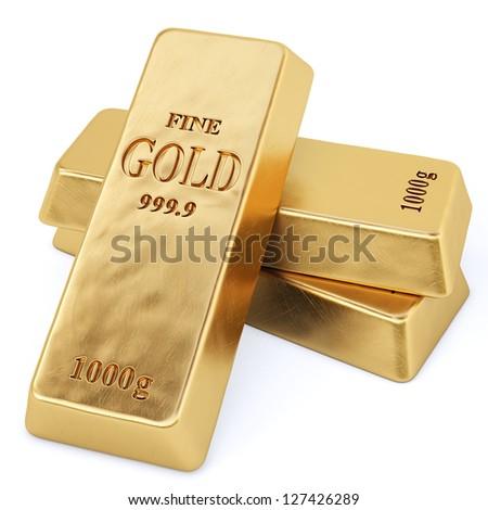 golden bars. Isolated on white.