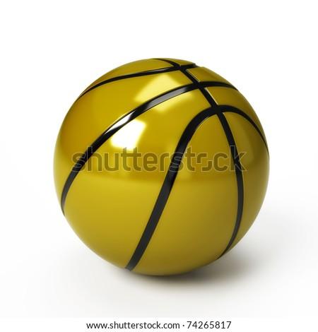 Golden Basket Ball, isolated on white