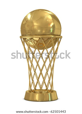Golden basketball award trophy with ball and net isolated on white
