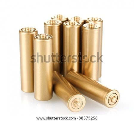 golden batteries isolated on white