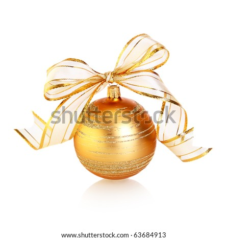 Golden bauble  isolated on white background