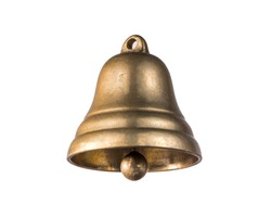 Golden bell isolated on white background.