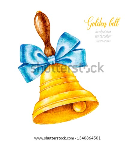 Golden bell with bow. Watercolor school. Back to school. Office. Stationery. Watercolor botanical illustration. Graduation. Watercolor bell