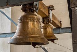 golden bells on the bell tower in Kiev, Ukraine