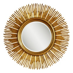 Golden Beveled Round Wall Mirror in a Sun-Ray Frame Isolated. Decorative Gold Sun Vintage Art Deco Mirror for Living Room & Bedrooms. Eye-Catching Wall Mounted Classic Circular Mirror. Interior Design