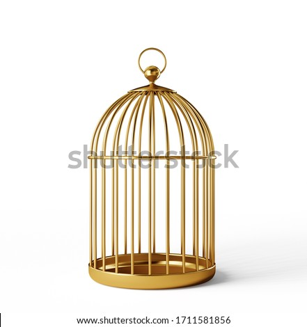 golden bird cage isolated on a white. 3d illustration Foto stock ©
