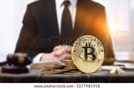 Golden Bitcoin and business mam Foto stock ©