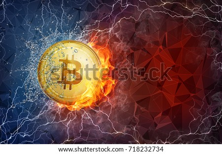 Golden bitcoin coin flying in fire flame, water splashes and lightning. Bitcoin Cash hard fork concept. Cryptocurrency bitcoin symbol in storm illustration with polygon background.