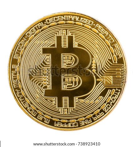 Golden bitcoin coin isolated on white background. Bitcoins. Physical bit coins. Digital currency. Cryptocurrency mining concept. Two coins with bitcoin symbols isolated on white background