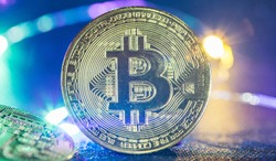 Golden bitcoin cryptocurrency with high value against fiat currency and profitable mining. Digital gold and money of tomorrow.
