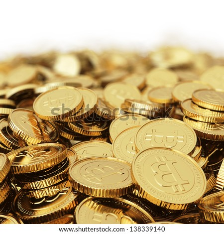 Golden Bitcoin cryptography digital currency coins - isolated with clipping path