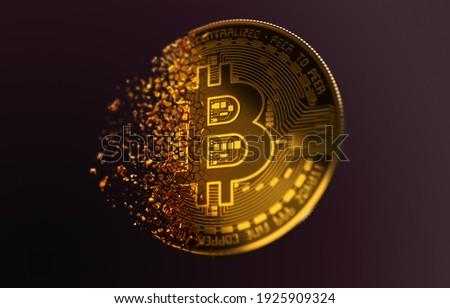 Golden Bitcoin Disintegration in air.  Bitcoin bursting disperse in pieces fragments. BTC destruction. 3D illustration.