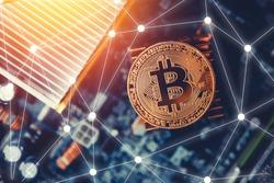 Golden bitcoin on dark background. Concept Blockchain, cryptocurrencies