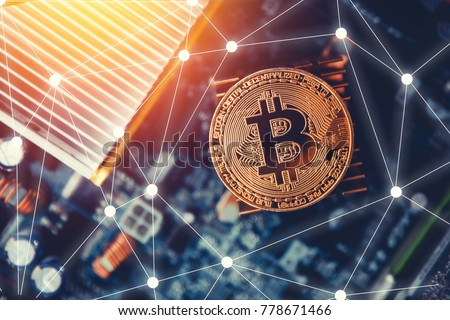 Golden bitcoin on dark background. Concept Blockchain, cryptocurrencies