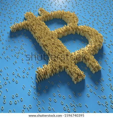 Golden bitcoin sign and binary code perspective view; digital currency symbol with digits 1 and 0 on blue background; block chain concept; 3D rendering