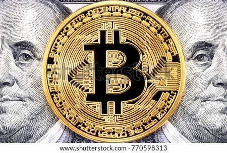 Golden bitcoin with Benjamin Franklin portrait from one hundred american dollars. Business concept of worldwide cryptocurrency #770598313
