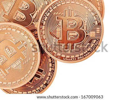 Golden Bitcoins (new virtual money ) isolated on white