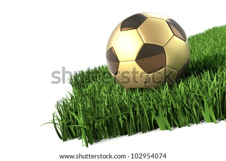 Golden black Soccerball carbon fibre style on grass