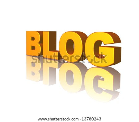 golden Blog text on white background - 3d illustration