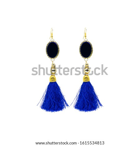 Golden Blue Isolated Earring Ethnic Indian Style. Bohemian Jewellery. Stylish Golden Oxidized Earrings. Multicolor Beads Earrings. Jhumka, Jhumki Earrings. Dangle Drop Stud Earring