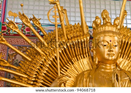 "Golden Bodhisattva ""Guan Yin"" with thousand hands statue"