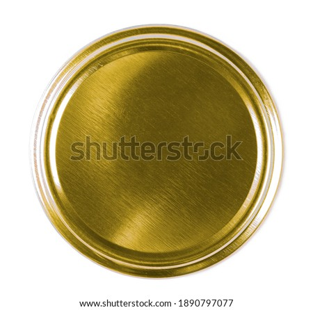 Golden bottle lid isolated on white background, top view Photo stock ©