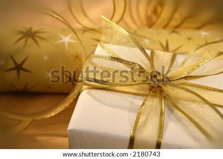 Golden bow on gift