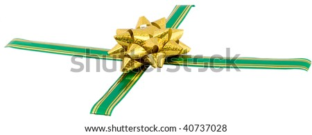 golden bow on green ribbon isolated on white background - stock photo